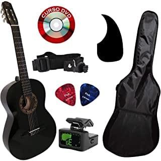 Guitarra acústica negra pack